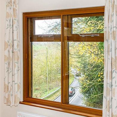Secondary Glazing in oak colour