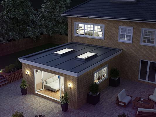 Flat rooflight external view night time