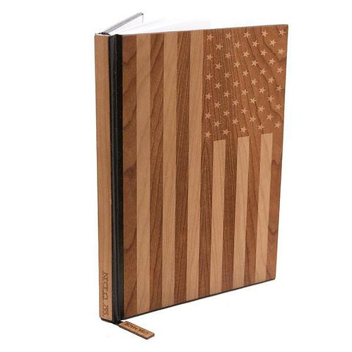 """Handcrafted American Flag 5"""" X 7"""" Wood Journal / Planner in Mahogany"""
