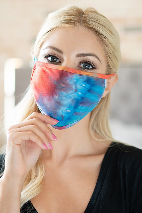 Rfm8002-Rtd023 - Tie Dye Reusable Face Mask for Adults With Filter Pocket