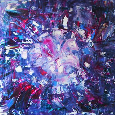 Bloom bloom boom!, 2018 acrylic on canvas 70 x 70 cm