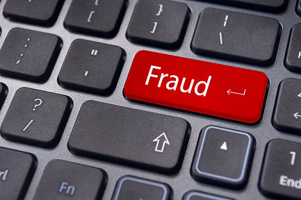 fraud, internet crime, with a message on