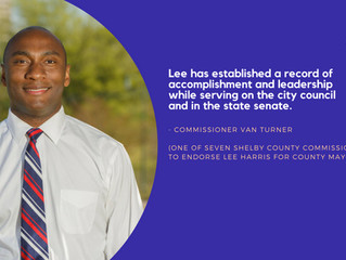 LEE HARRIS EARNS ENDORSEMENT FROM MAJORITY OF SHELBY COUNTY COMMISSION