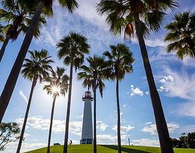 Lighthouse with palms at Long Beach, Cal