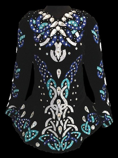 Black with White & Blue Appliqué (A59)