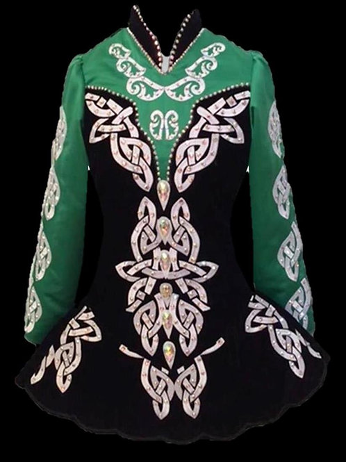 Celtic Themed Black & Green Dress (A29)