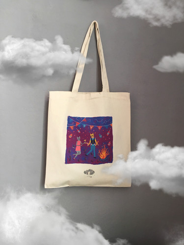 Crazy cat party tote bag