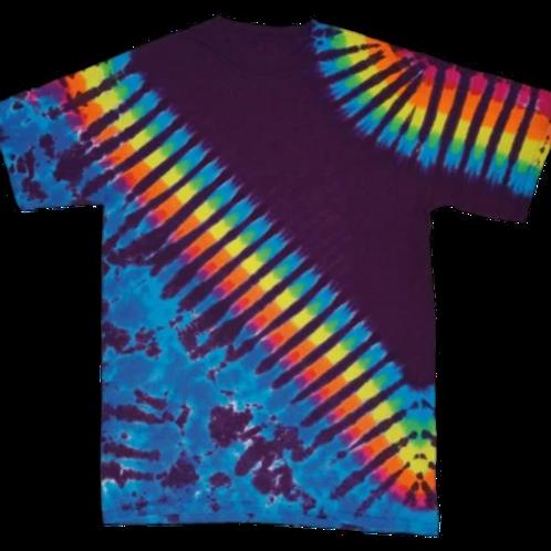 Rainbow diagonal tye dye t shirt