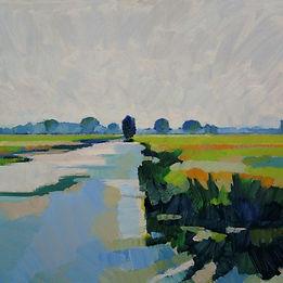Zomerdag in de polder 23-08-17 olieverf