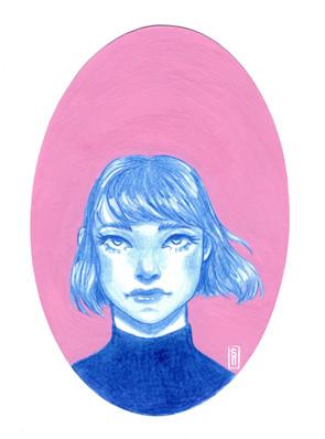 Pink & Blue Portrait
