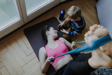 Core exercise with kids