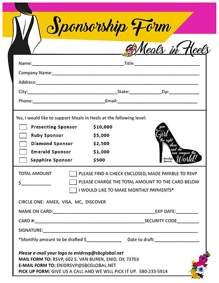 Sponsorship Packet 2019 Sponsorship Form