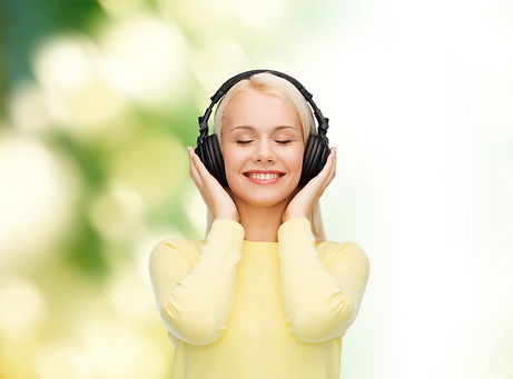 music and technology concept - smiling y