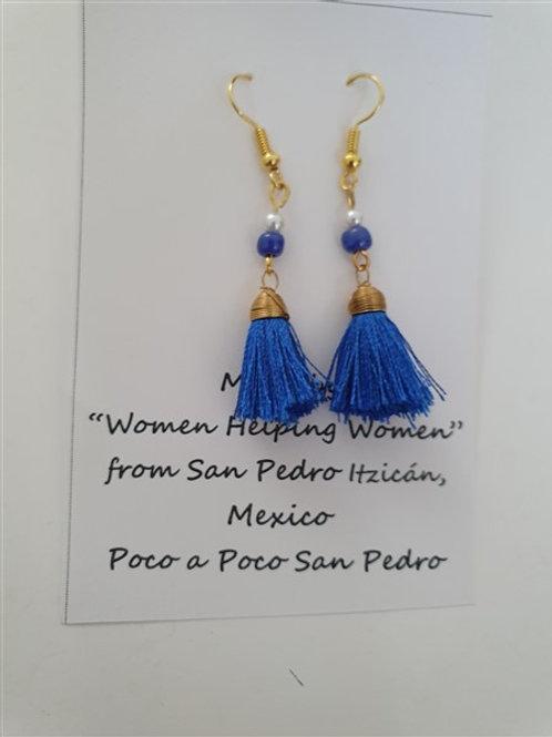 """Blue fan earrings in """"gold"""""""