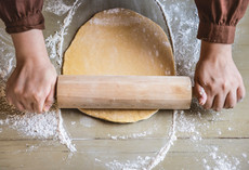 Rolling the pastry dough