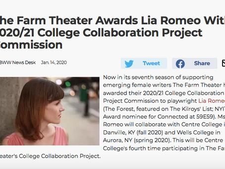 THE FARM THEATRE Awards Lia Romeo With College Collaboration Project Commission