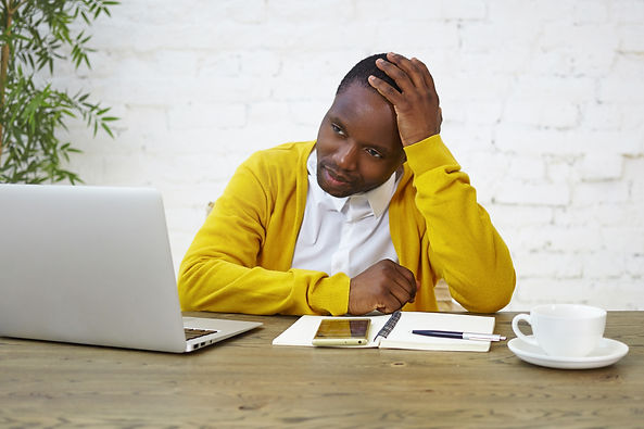 portrait-sad-afro-american-male-employee