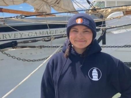 Harbor Freight Marine Fellow, Maddie, Goes to Sea Aboard Schooner Harvey Gamage