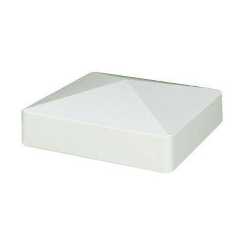 5 in. x 5 in. White Vinyl Pyramid Fence Post Cap