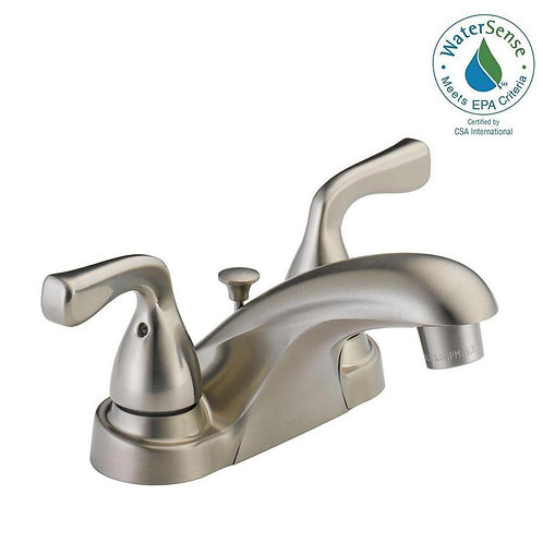 Delta Foundations 4 in. Centerset 2-Handle Bathroom Faucet in Brushed Nickel