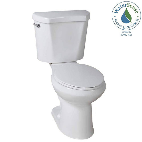 Glacier Bay 2-piece 1.28 GPF High Efficiency Single Flush Round Toilet in White