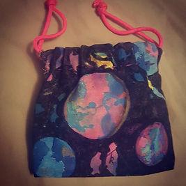 Hand Sewn Drawstring bag, painting on Ca