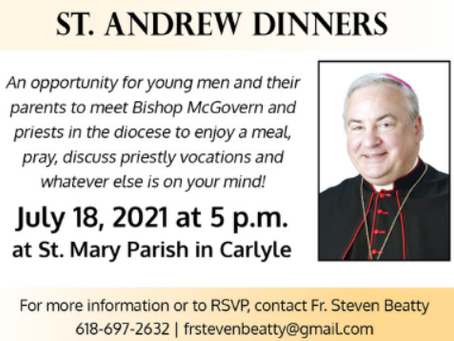 St. Andrew Dinner - St. Mary, Carlyle - July 18 at 5:00 p.m.