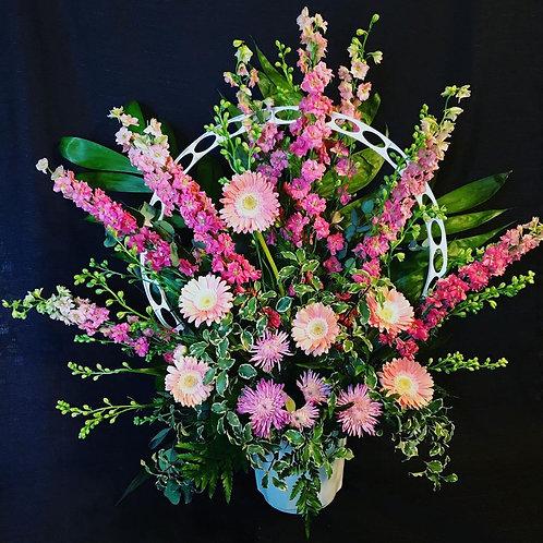Mixed Flower Spray-Peaceful Orb Basket