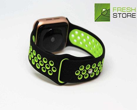 Ремешок спортивный для Apple Watch цвет черно-зеленый 38/40ММ