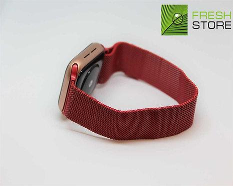 Ремешок - сетчатый браслет миланский для Apple Watch цвет красный 38/40ММ