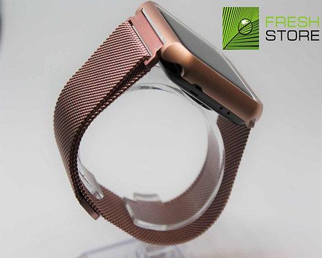 Ремешок и чехол для Apple Watch миланское плетение розовое золото 42ММ