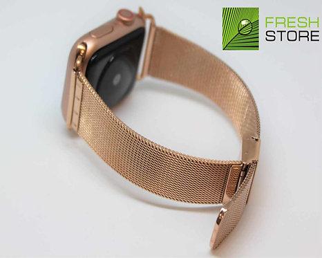 Ремешок - миланский сетчатый браслет для Apple Watch цвет розовое-золото 38/40ММ