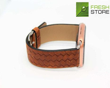 Ремешок Apple Watch с фактурой плетения экокожа коричневый 42/44ММ