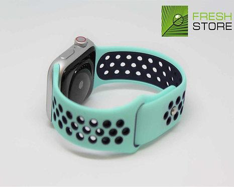 Ремешок спортивный силиконовый для Apple Watch бирюзово-черный 38/40ММ