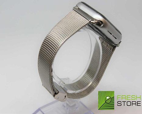 Ремешок -сетчатый браслет миланское плетение для Apple Watch серебристый 38/40ММ