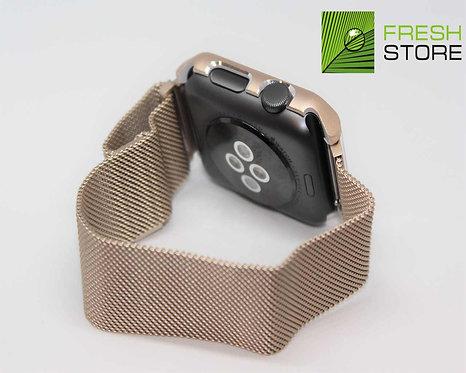 Ремешок и чехол для Apple Watch миланское плетение цвет золотой 42ММ