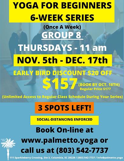 Nov 5 - 11 am YOGA FOR BEGINNERS 6-WEEK