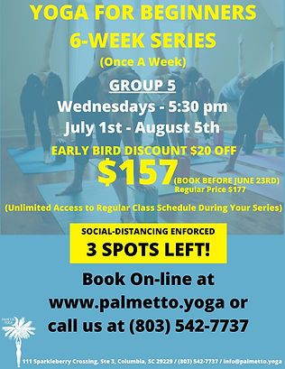 YOGA FOR BEGINNERS 6-WEEK SERIES July 1s