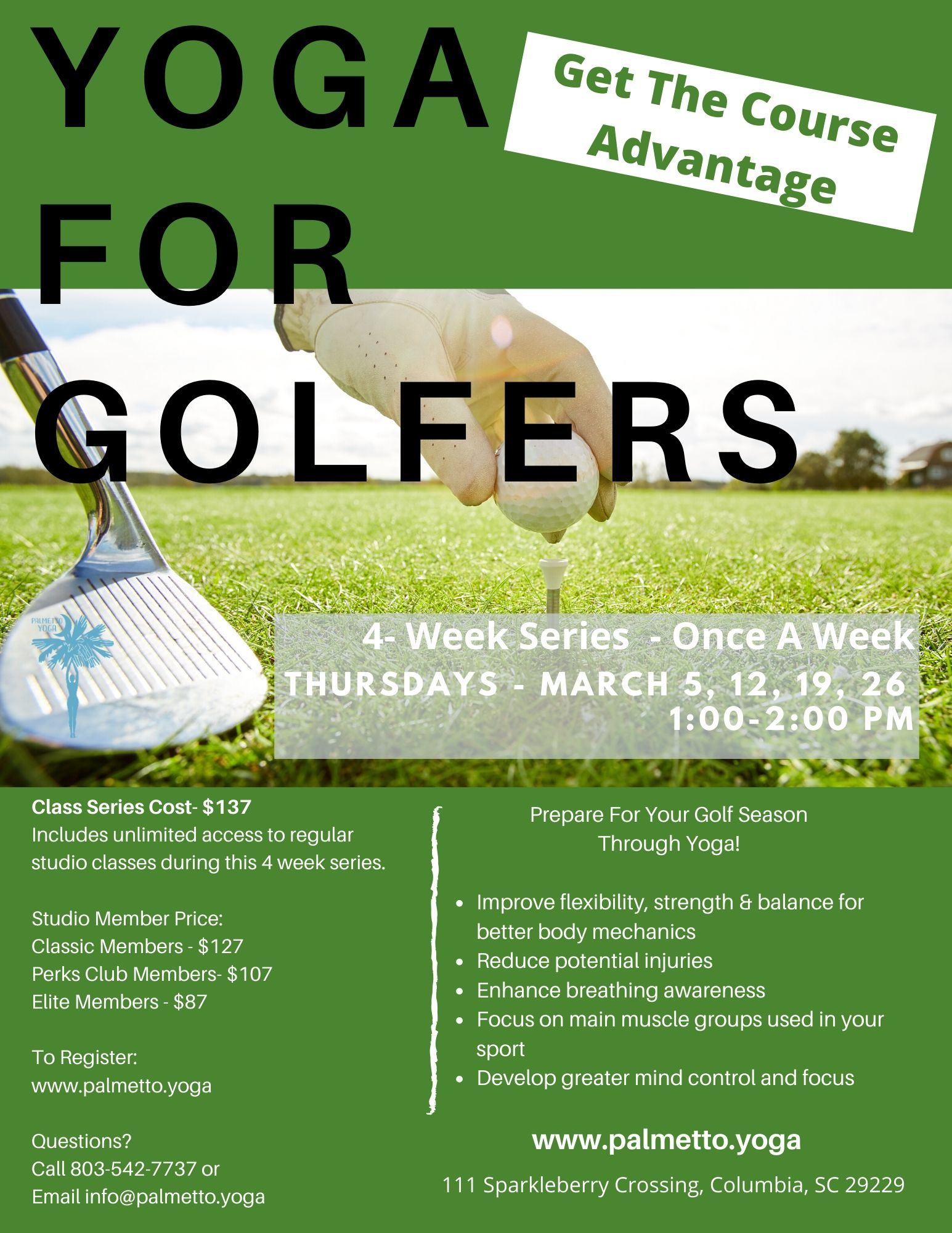 yoga for golfers 4 week March 5th