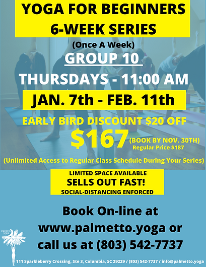 jan 7 11 am YOGA FOR BEGINNERS 6-WEEK SE