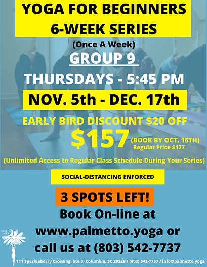 Nov 5 - 545 pm  YOGA FOR BEGINNERS 6-WEE