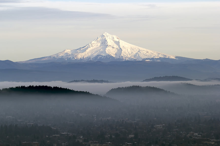 Mount Hood With Low Fog In The Valley.jp