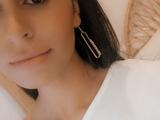 Celeste wearing the Josephine earring