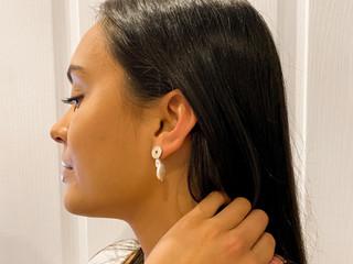 Chelsea wearing the Rose earring
