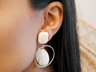 Celeste wearing the Rebecca earring