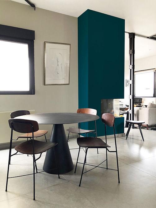 salon cheminée table chaises