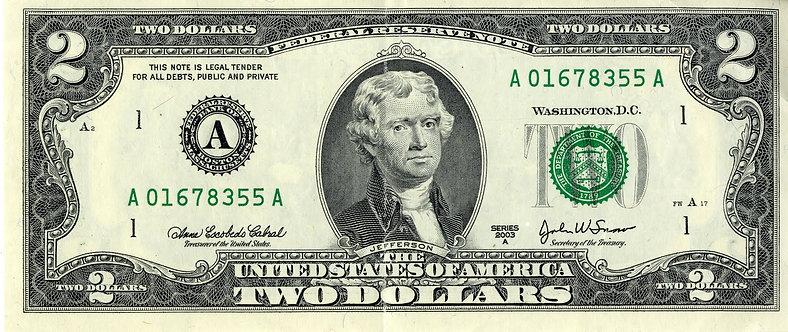 2 доллара США на СЧАСТЬЕ и УДАЧУ. Оригинал.
