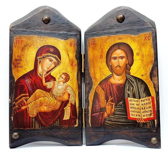 Икона-складень Пресвятая Богородица и Иисус Христос; 20 век