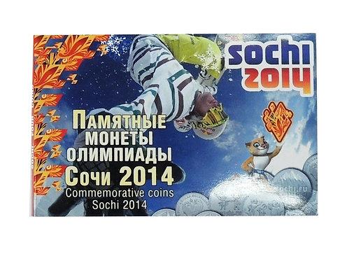 Памятные монеты олимпиады Сочи 2014. Набор из 4-х монет в планшете.