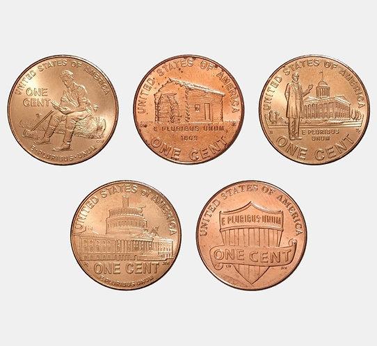 Набор монет 1 цент «Жизнь Авраама Линкольна»